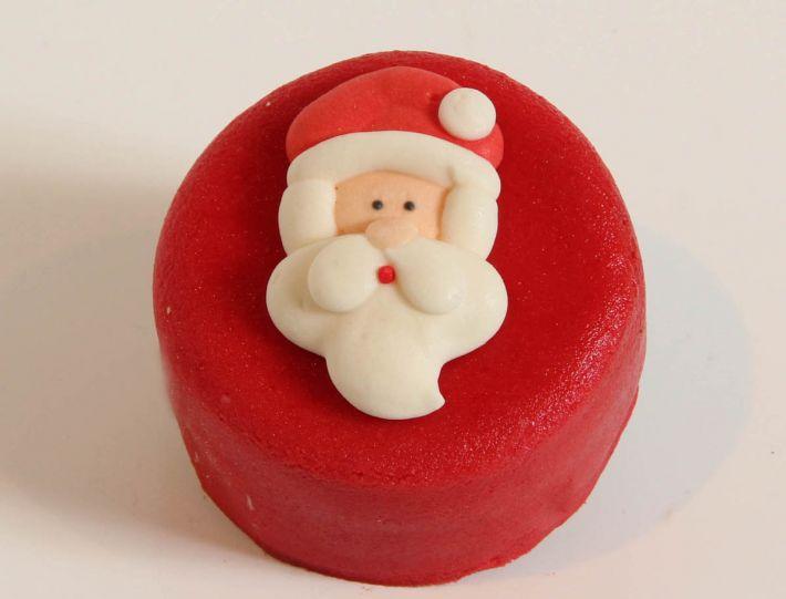 12 rote Weihnachts Törtchen Weihnachtsmannkopf