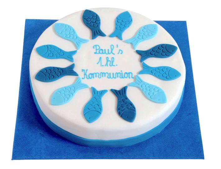 Blaue Fische Tauf Torte