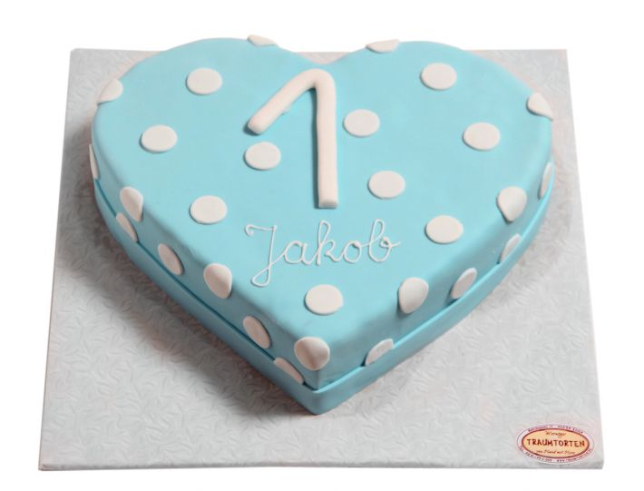 Blaue Herzpunkt Torte