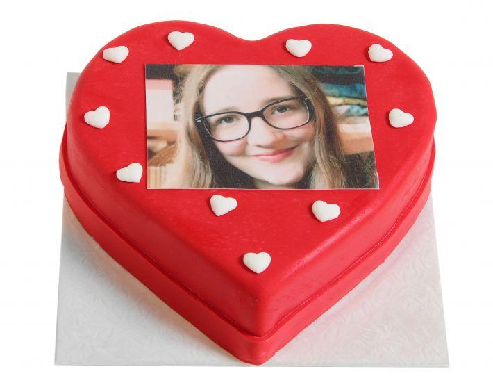 Herzförmige Foto Torte