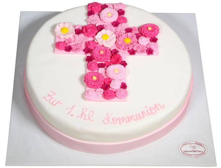 Kommumionstorte Blumenkreuz rosa