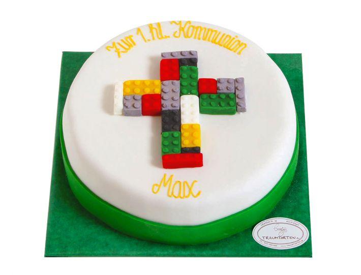 Kreuz aus Bausteinen Tauf Torte