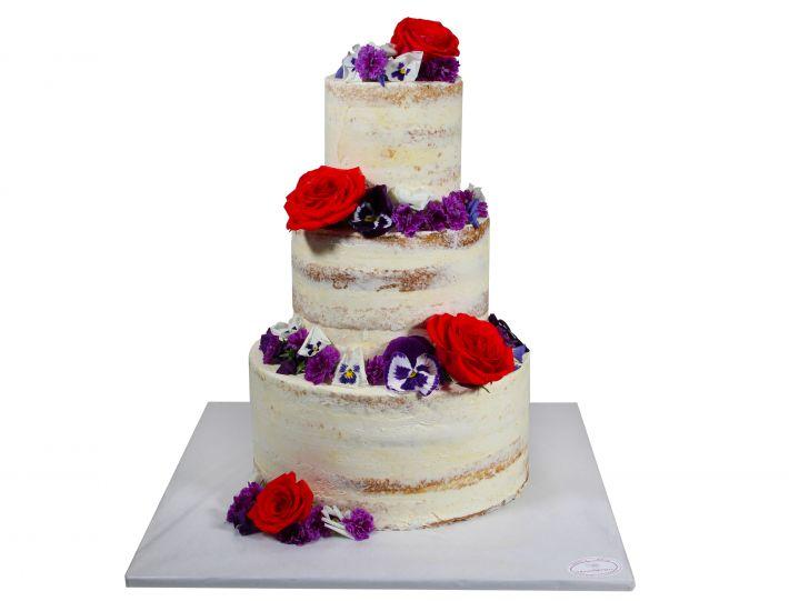 Naked Cake mit essbarem Blütenmix 3