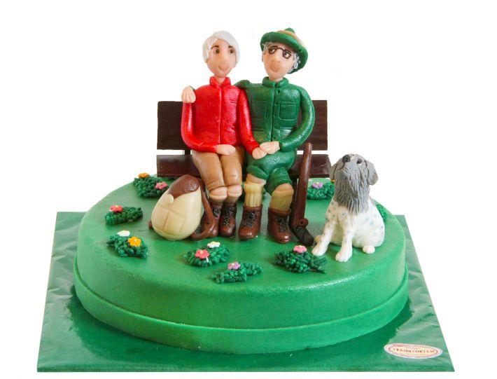 Paar auf Bank Torte