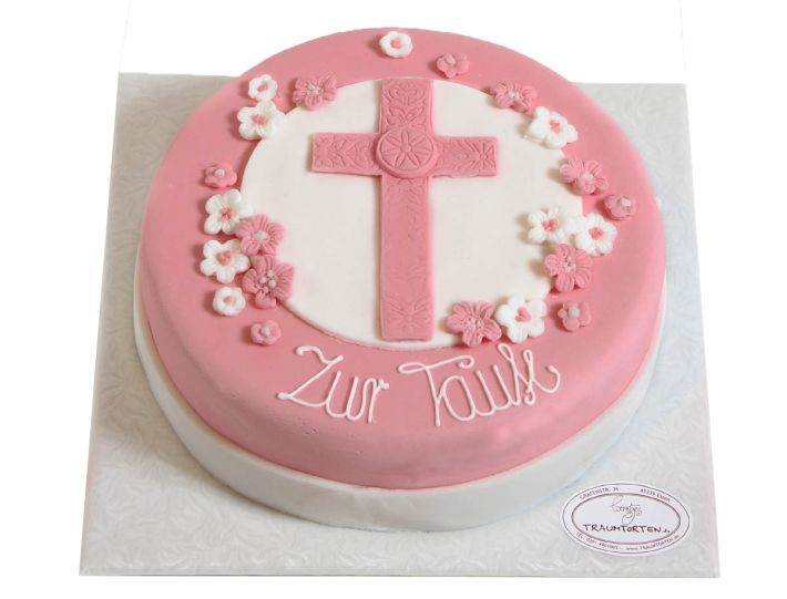 Rosa Kreuz Tauf Torte