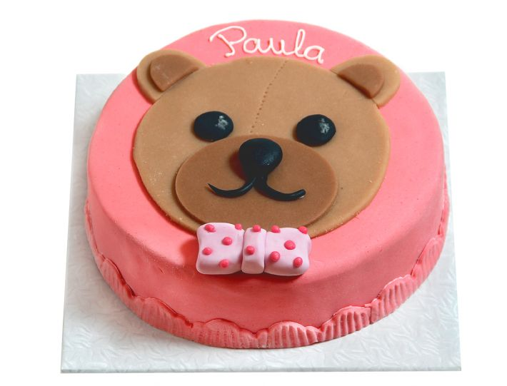 Rosa Teddykopf Torte