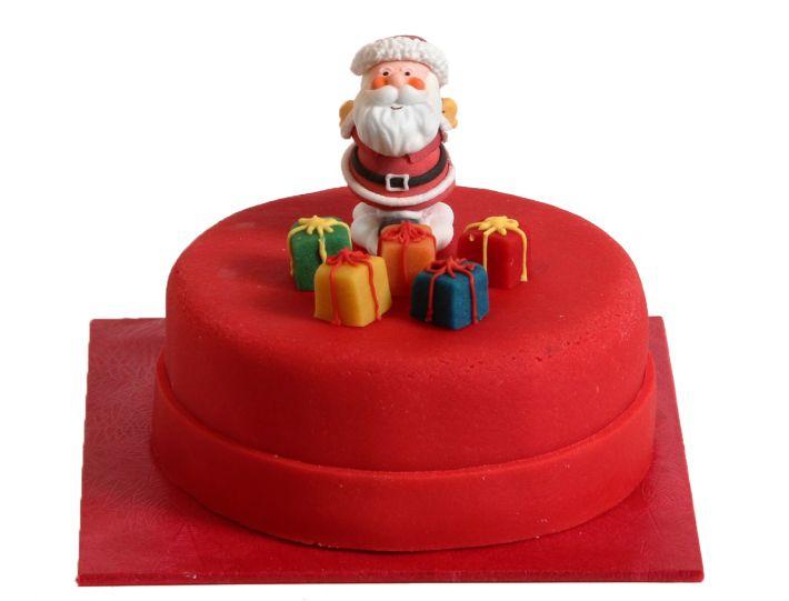Weihnachtsmann mit Geschenken Torte