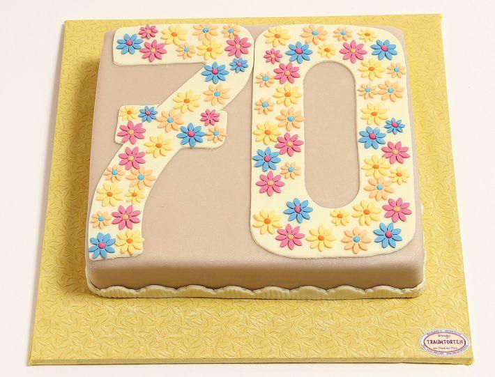 Zahl mit bunten Blüten Torte