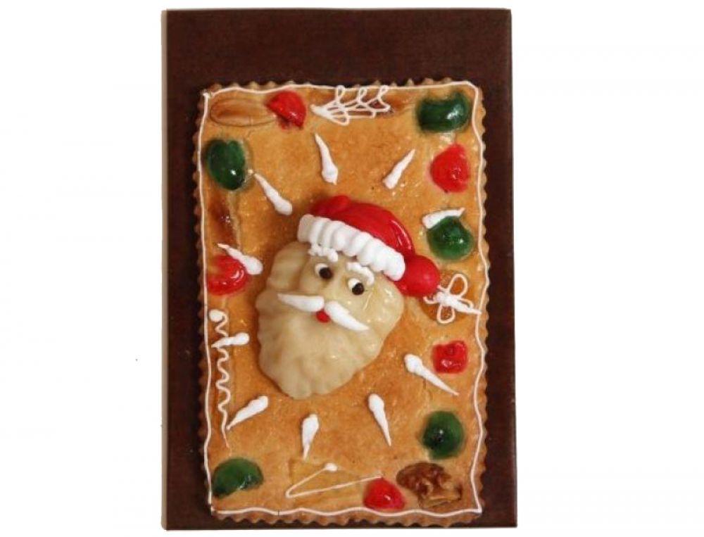 Gebäckplatte mit Weihnachtsmannkopf