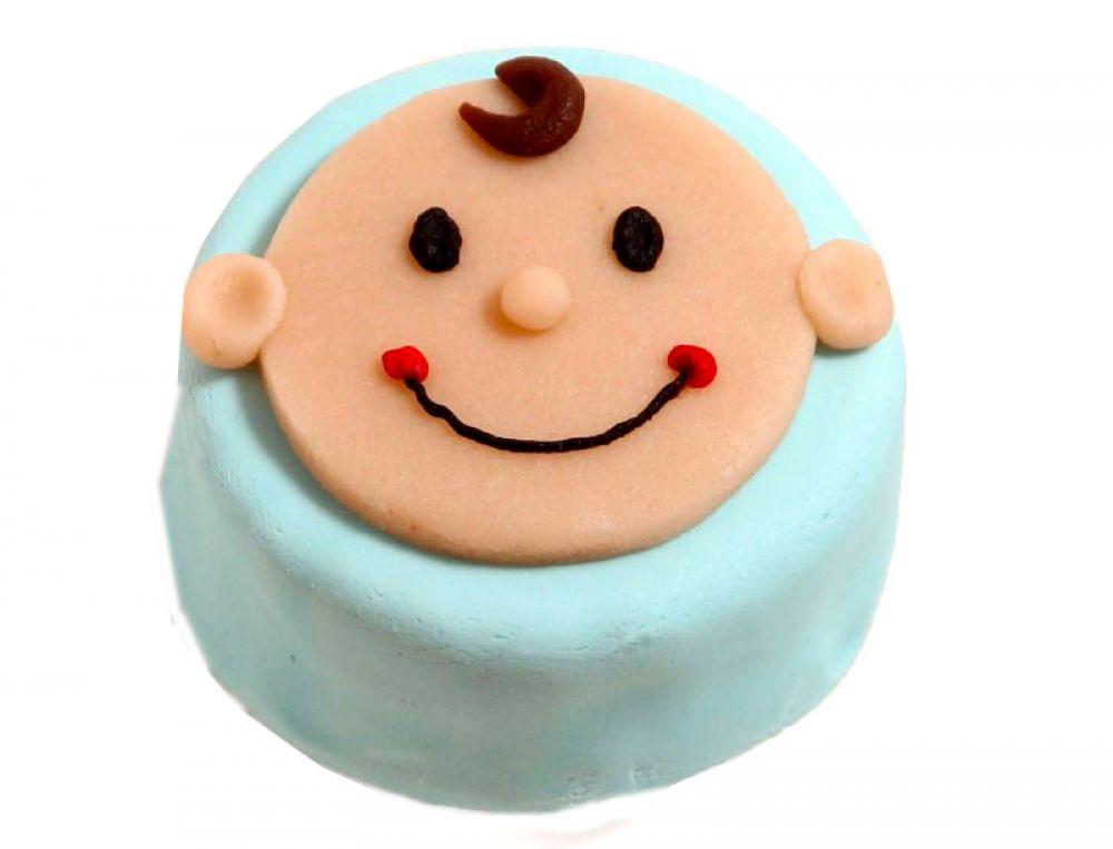 12 blaue Mini Törtchen mit Babykopf