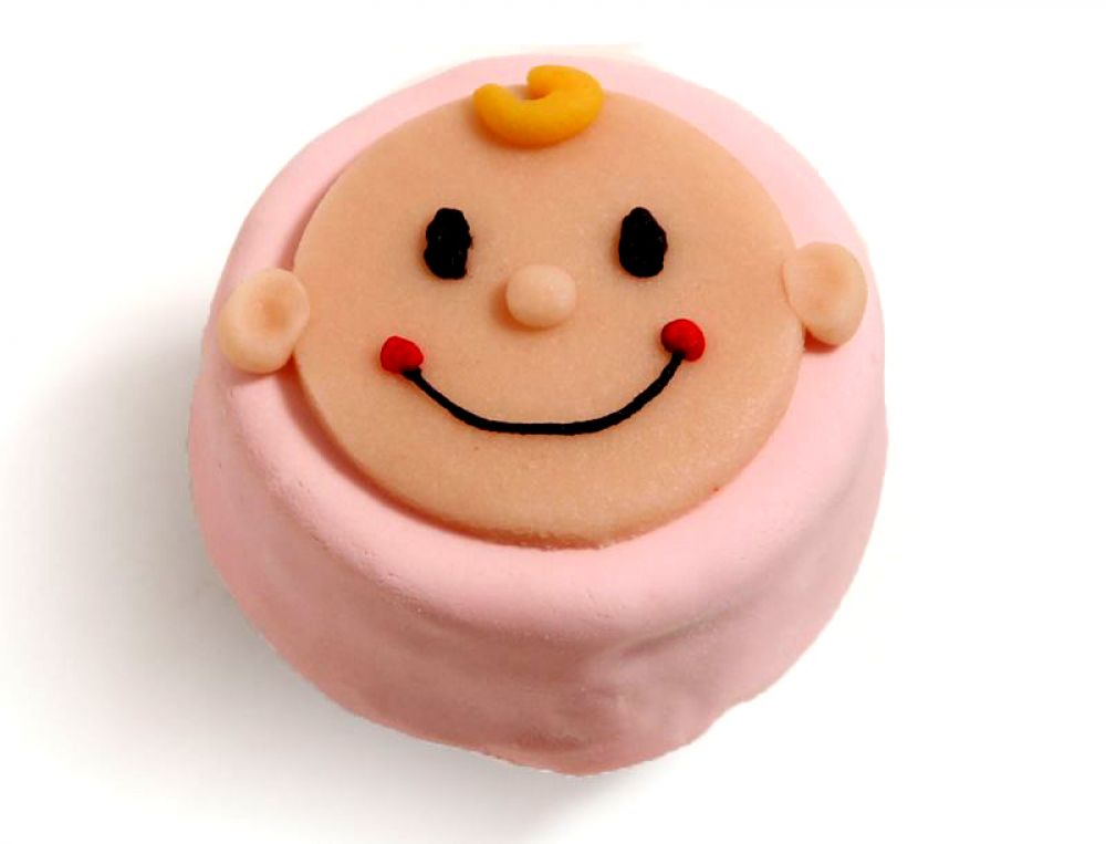 12 rosa Mini Törtchen mit Babykopf