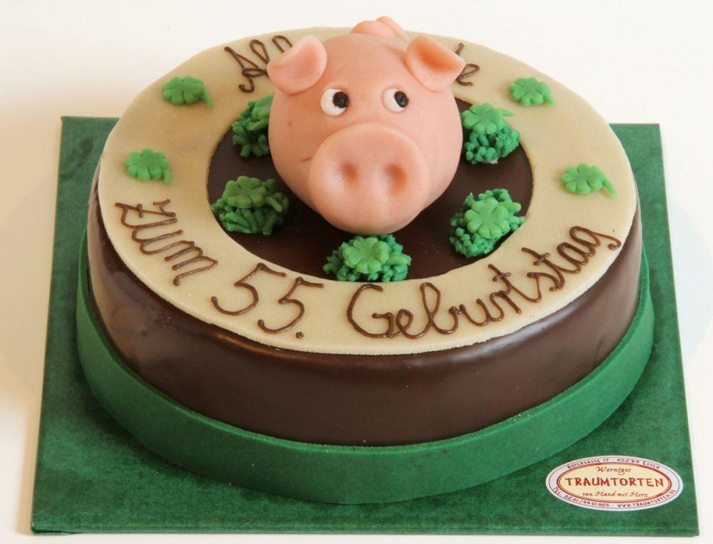 Zur Einweihung ein Glücksschwein Torte