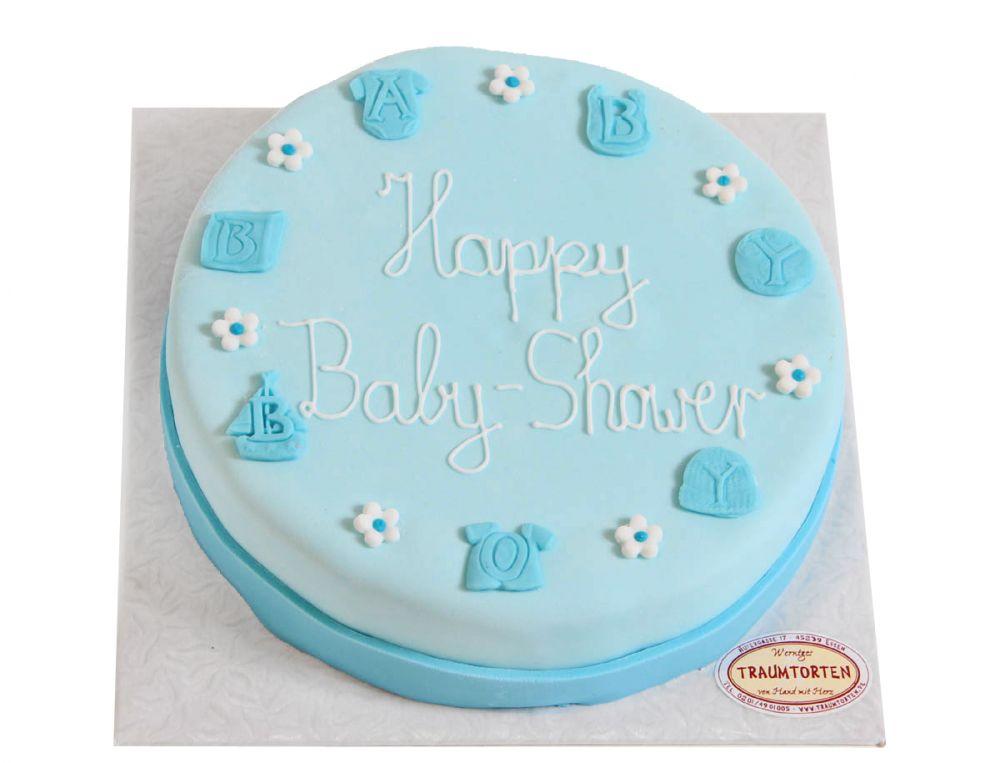Blaue Baby Symbole Geburts Torte
