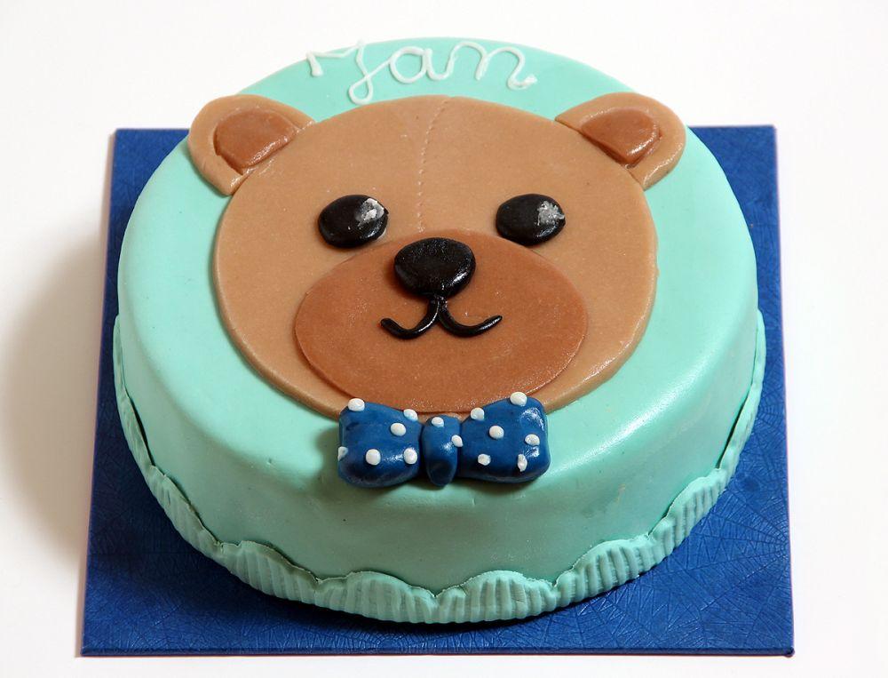 Blaue Teddykopf Torte