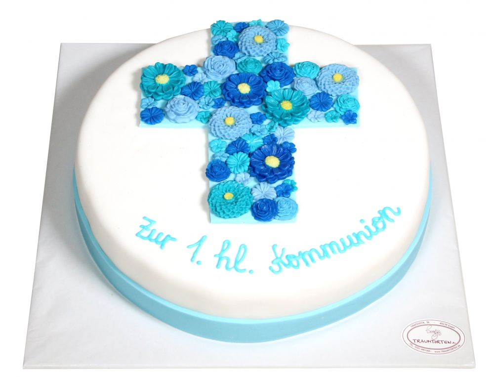 Kommumionstorte Blumenkreuz blau