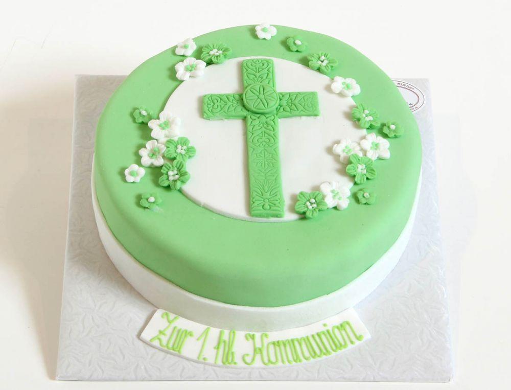 Mintgrünes Kreuz Tauf Torte