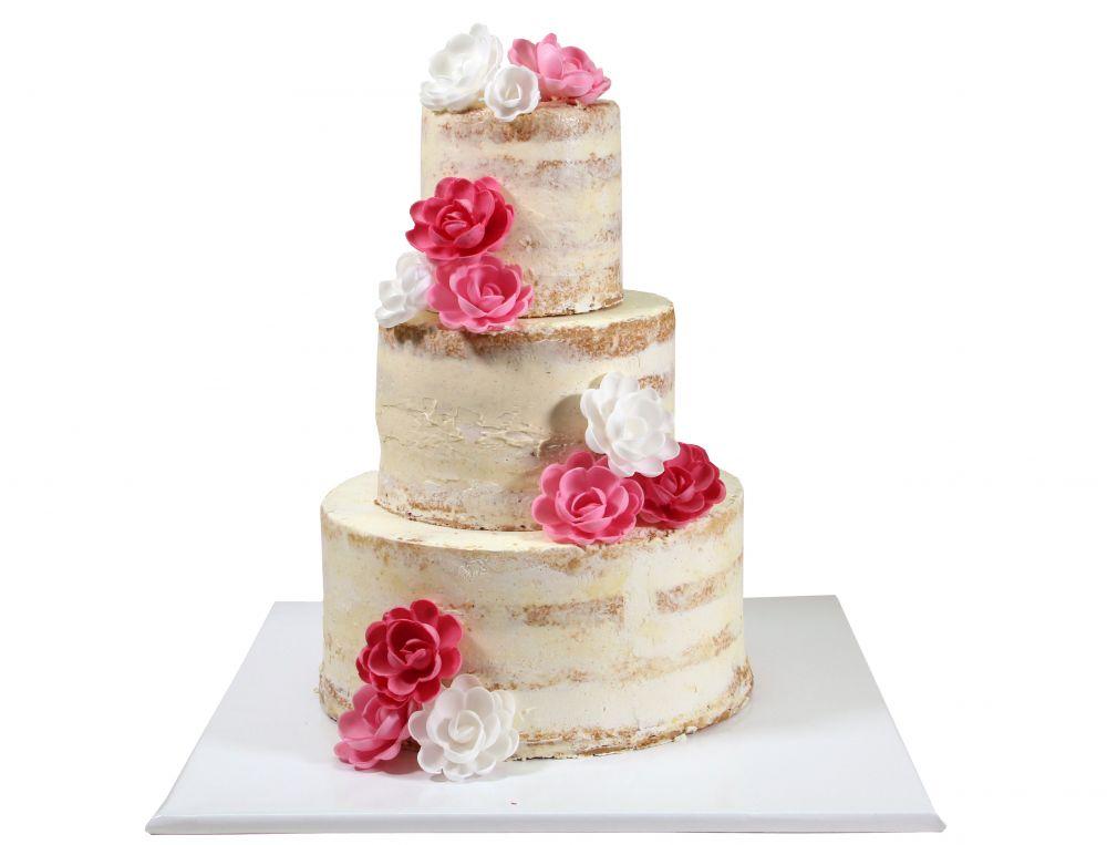 Naked Cake mit bunten Esspapier Rosen