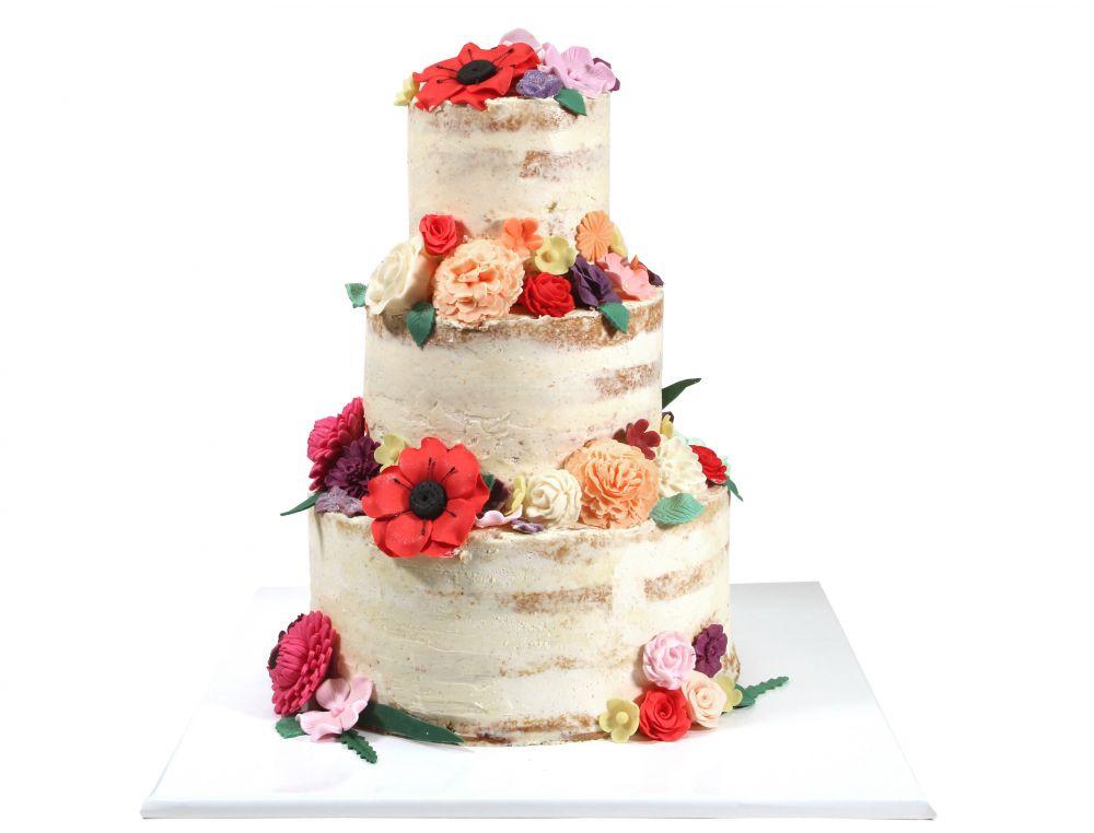 Naked Cake Zucker Blütenpracht mit Blättern
