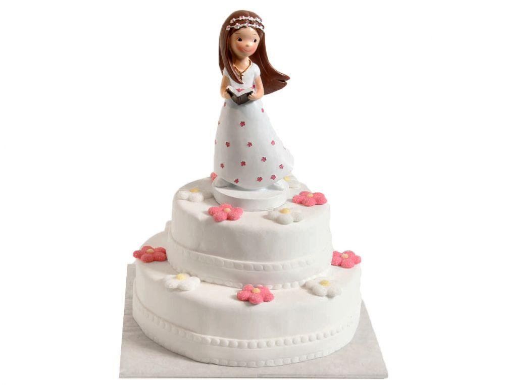 Stehendes Kommunionsmädchen Torte