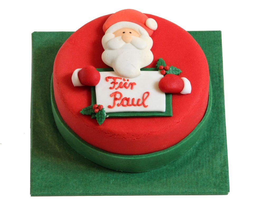 Weihnachtsmann mit Schild Torte