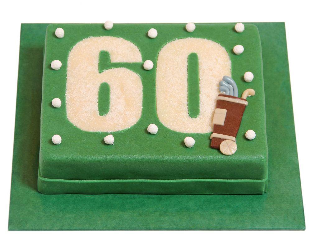 Zahl mit Golfbag und Golfbällen Torte
