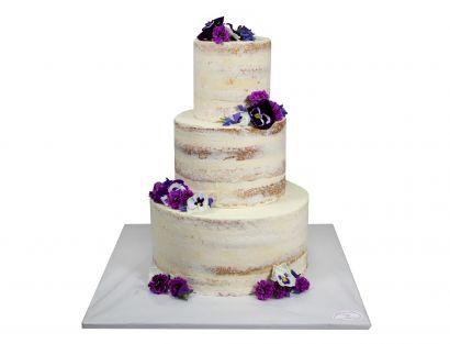Naked Cake Viola mit echten Blüten