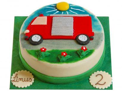 Feuerwehrauto Landschaft Torte
