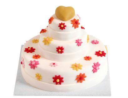 Geblümte Torte