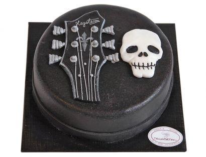 Gitarrenkopf mit Totenschädel Torte