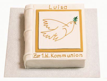 Kommunion und Konfirmation Buch mit Taube Torte
