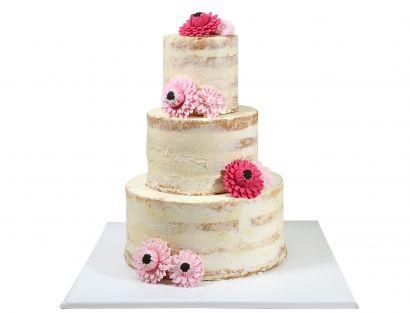 Naked Cake mit Dahlien aus Zucker