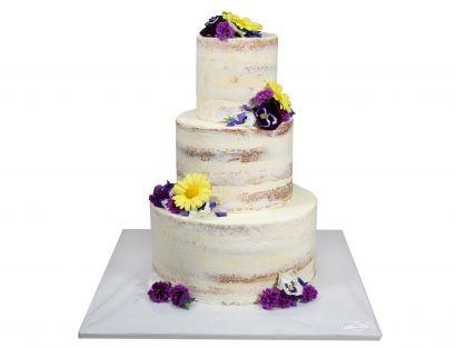 Naked Cake mit essbarem Blütenmix 1