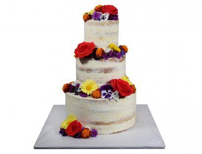 Naked Cake mit essbarem Blütenmix 4