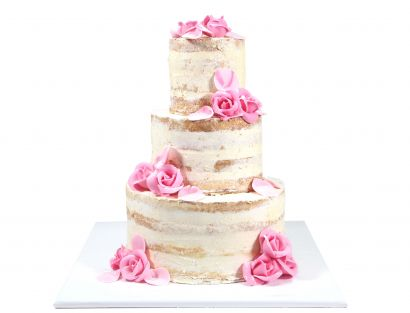Naked Cake mit Rosen aus Fondant