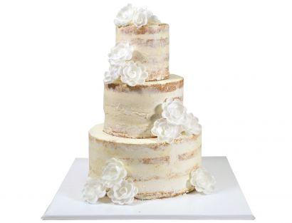 Naked Cake mit weißen Esspapier Rosen