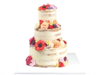 Naked Cake Zucker Blütenpracht