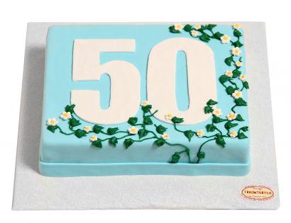 Zahl mit Blumenranken Torte