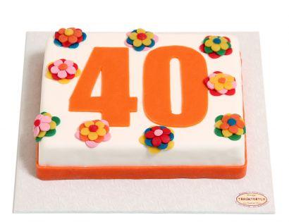 Zahl mit bunten Blumen Torte
