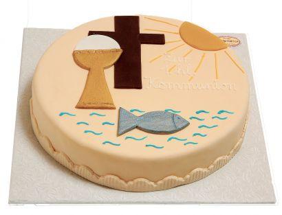 Zur Geburt-Taufe-Kommunion mit Kelch Torte